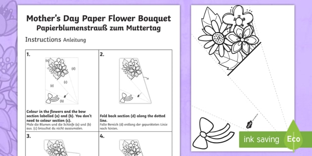 Mother S Day Paper Flower Bouquet Craft Instructions English German