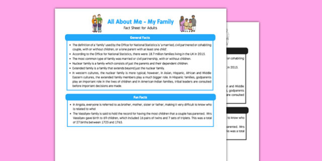 Ourselves All About Me My Family Fact Sheet for Adults - Early Years, KS1,families, UTW