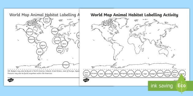 world map animal habitat labelling activity world map habitat. Black Bedroom Furniture Sets. Home Design Ideas