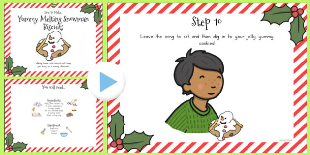 Yummy Melting Snowman Biscuits Recipe PowerPoint - australia