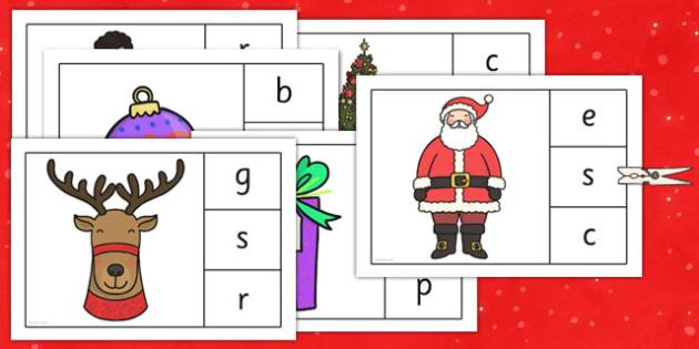 Christmas Initial Sounds Matching Peg Activity - christmas, initial sounds, matching, peg, activity