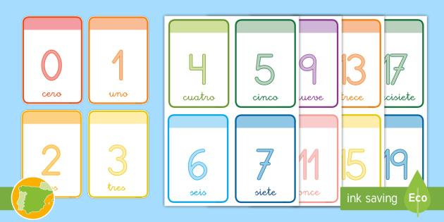 Tarjetas Educativas Números Del 0 Al 20 Infantil