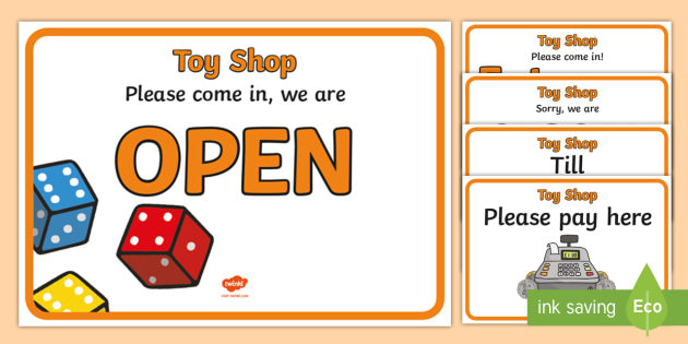 Toy Shop Display Signs - Toy shop Role Play, toy shop, toy shop resources, toys, till, money, customer, dolls, lego, ben 10, role play, display, poster