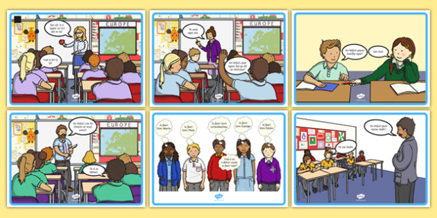 School Conversation Display Posters Gaeilge - talking, speaking and listening, school, teach, learning