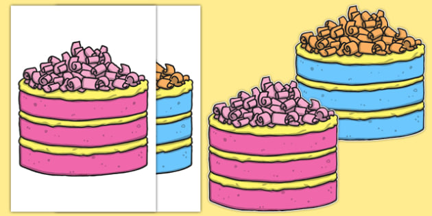 Editable Pink and Blue Cake A4 Cut-Outs - editable, pink, blue, cake, cut outs, a4
