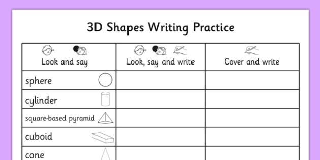 3d Shapes Writing Practice Worksheet 3d Shapes Writing