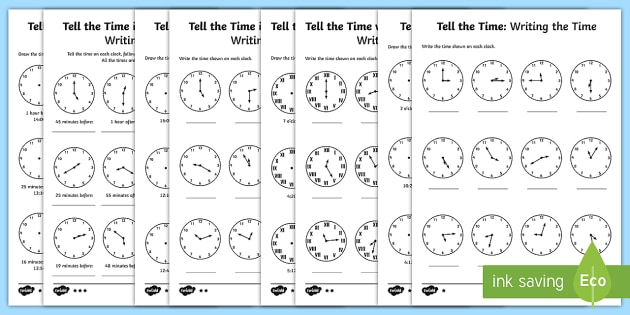 Year 3 Tell and Write the Time Differentiated Worksheet / Activity Sheets - Tell and write the time from an analogue clock, including using Roman numerals from I to XII, and 12