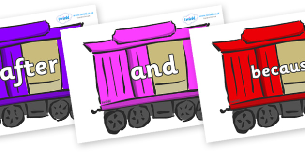 Connectives on Carriages - Connectives, VCOP, connective resources, connectives display words, connective displays