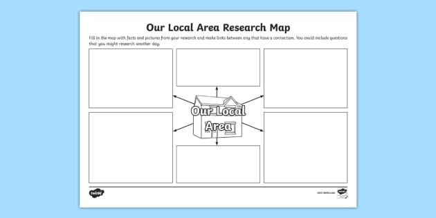 Our Local Area Research Map Template - local, area, research, map