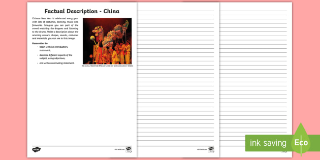 A Diverse And Connected World - China Descriptive Writing Worksheet /