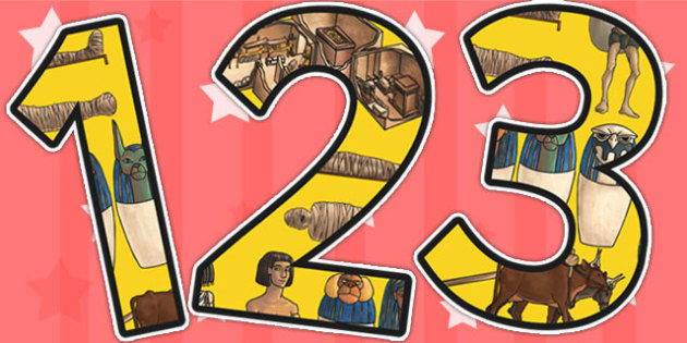 Ancient Egypt Themed A4 Display Numbers - egypt, numbers, display