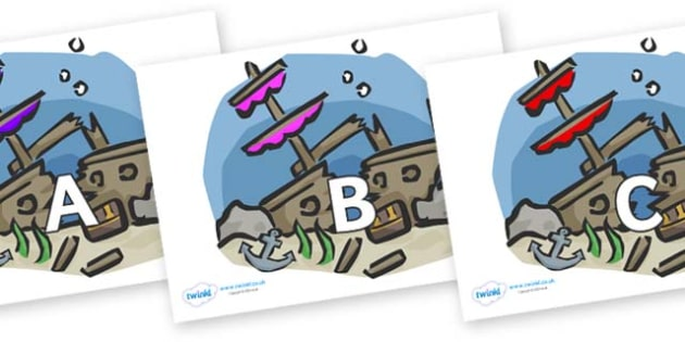 A-Z Alphabet on Ship Wrecks - A-Z, A4, display, Alphabet frieze, Display letters, Letter posters, A-Z letters, Alphabet flashcards