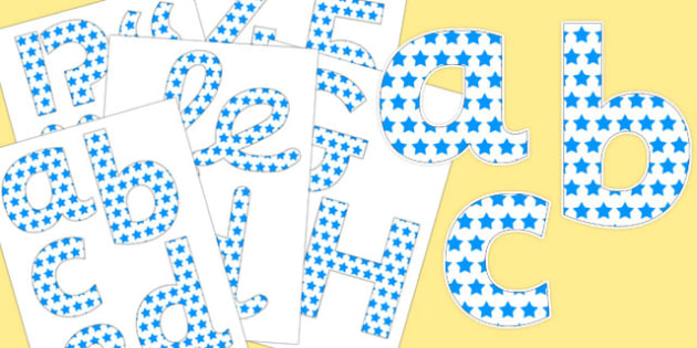 White with Blue Stars Display Letters and Numbers Pack - display lettering