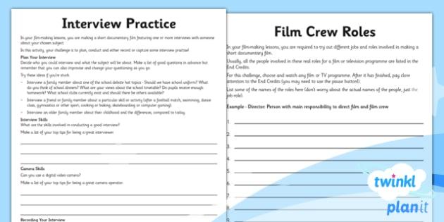 Computing: Film-Making Year 6 Unit Home Learning Tasks