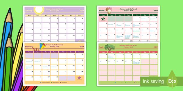 Au Calendar 2019 Western Australia Term 1 2019 Calendar