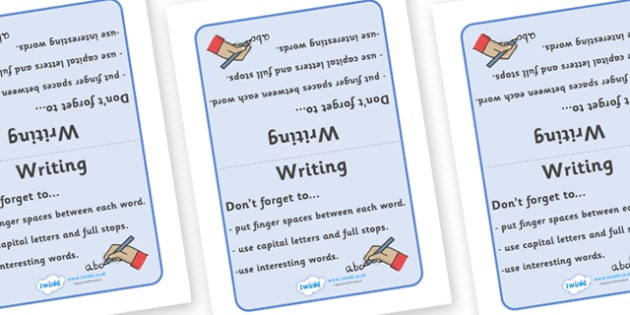 Writing Prompt Table Sign - Writing prompt, writing aid, table sign, writing aids, A4, sign, punctuation, finger spaces, full stop, how to write a sentence, capital letter, write it again, foundation stage literacy, letters and sounds, DfES, KS1