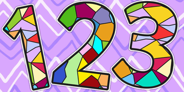 Stained Glass Window Display Numbers - numbers, display, RE