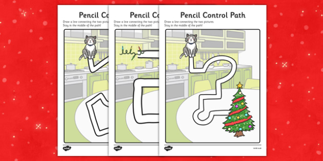 Christmas Cat Themed Pencil Control Path Worksheets - christmas cat, mog, pencil control