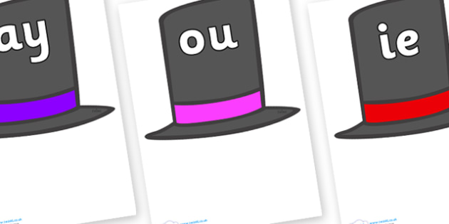 Phase 5 Phonemes on Top Hats - Phonemes, phoneme, Phase 5, Phase five, Foundation, Literacy, Letters and Sounds, DfES, display