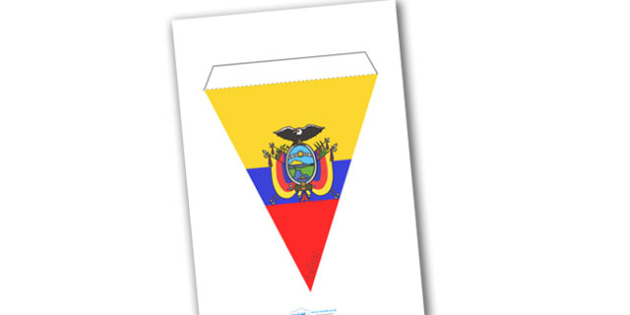 Ecuador Flag Bunting - Ecuador Flag Bunting, Ecuador, Flag, Flags, Bunting, South America, Quito, Latin America