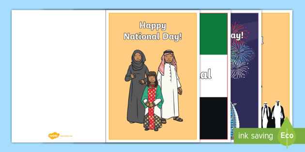 National Day Greeting Card Writing Template Uae National