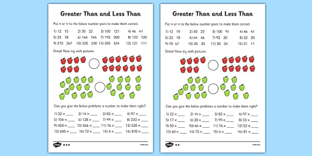 Greater Than and Less Than Worksheets (Differentiated) - greater