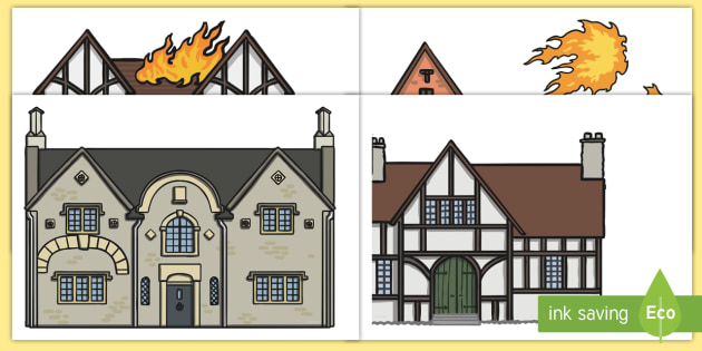 Great Fire Of London 1666 Houses Cutout Activity