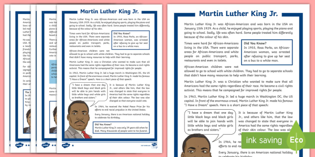 ks2 martin luther king jr  differentiated fact file