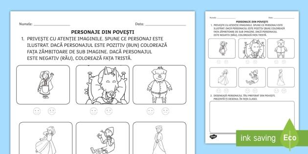 Free Personaje Din Povesti Fișă De Activitate