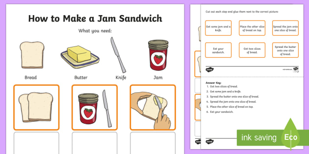How to Make a Jam Sandwich Procedure Word and Picture Matching Activity Sheet - Literacy, kindergarten, english, australian curriculum, procedure, literacy, text types, types of te