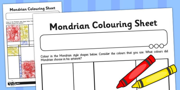 Piet Mondrian Colouring Sheet - piet, mondrian, colouring, sheet