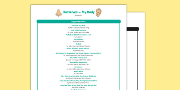 All About Me and Ourselves: My Body Book List