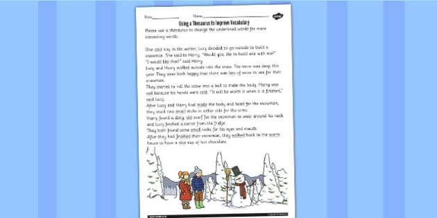 a Thesaurus to Improve Vocabulary Worksheet worksheet – Thesaurus Worksheet