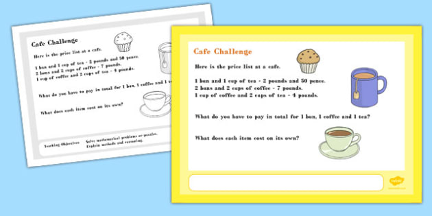 Cafe Maths Challenge A4 Display Posters - challenge, display