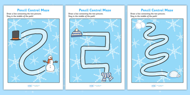 Winter Themed Pencil Control Maze Worksheets - winter, themed, pencil, control, maze, worksheet, winter worksheet, pencil control, winter maze worksheet