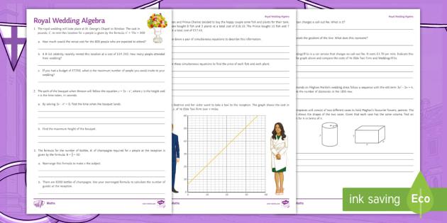 New royal wedding algebra revision activity sheet algebra new royal wedding algebra revision activity sheet algebra simultaneous equation ibookread PDF