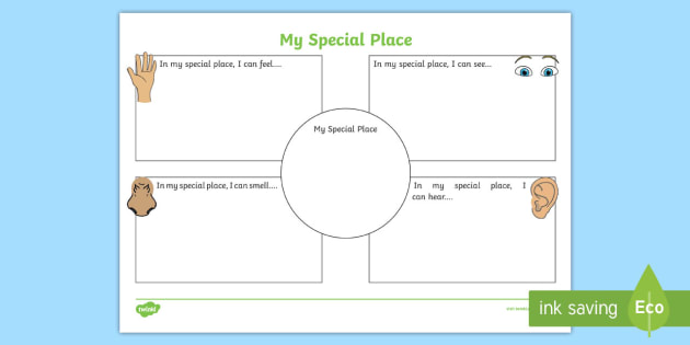 My Worksheet Place : My special place using senses worksheet activity sheet