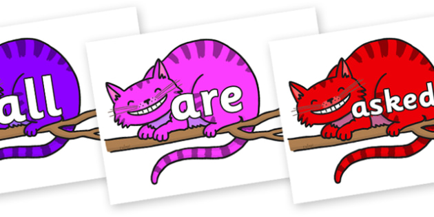 Tricky Words on Cheshire Cats - Tricky words, DfES Letters and Sounds, Letters and sounds, display, words
