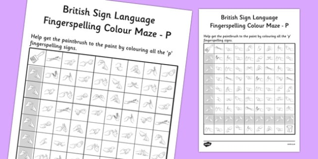 British Sign Language Fingerspelling Colour Maze P - colour, maze