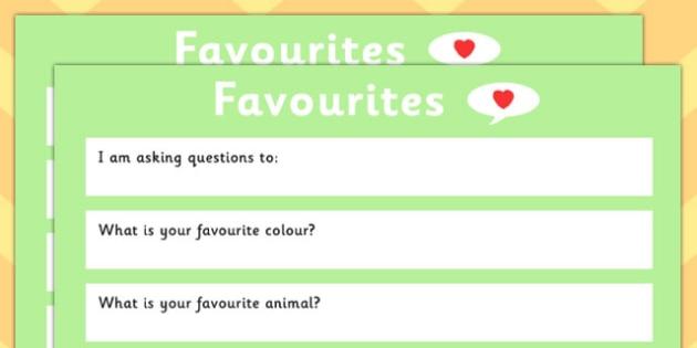 Favourites Question Sheet - favourites, question sheet, sheet