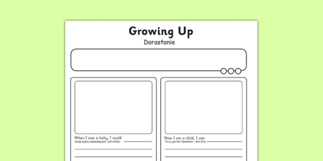 Growing Up Activity Sheet Polish Translation - polish, human growth, human life cycle, growing up, worksheet