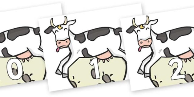 Numbers 0-31 on Cow and Moon - 0-31, foundation stage numeracy, Number recognition, Number flashcards, counting, number frieze, Display numbers, number posters