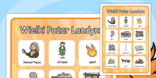 Materiały na gazetkę ścienną Wielki pożar Londynu po polsku , Polish