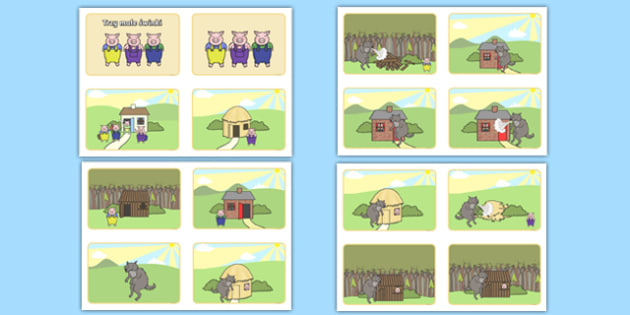 Plansze Trzy małe świnki format 4 na A4 po polsku