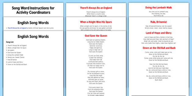 Elderly Care St. George's Day Song Words Instruction Sheet and Web Links - Elderly, Reminiscence, Care Homes, St. George's Day