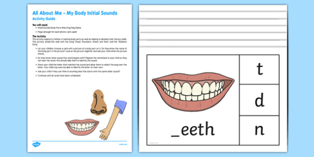 Initial Sound All About My Body Busy Bag Resource Pack for Parents
