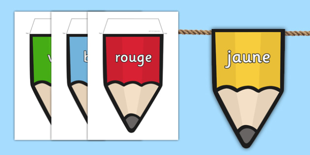 Colours on Pencil Bunting French - colours, pencil, bunting, french, display