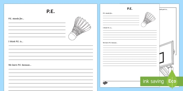 P.E. Reflection Writing Template - writing template, subject, self assessment, feelings, P.E., physical education