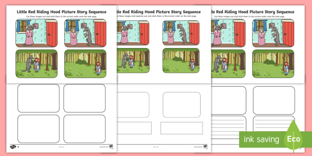 Black And White Little Red Riding Hood Sequencing Differentiated