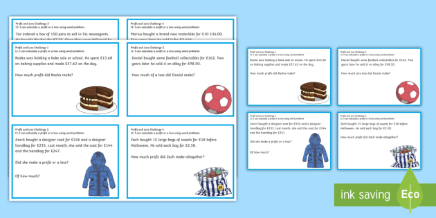 profit and loss challenge cards cfe numeracy and mathematics